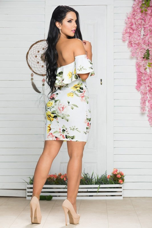 Floral Print, Off the Shoulder Bodycon Dress