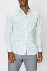 MEN'S Printed Long Sleeve Button Up Shirt