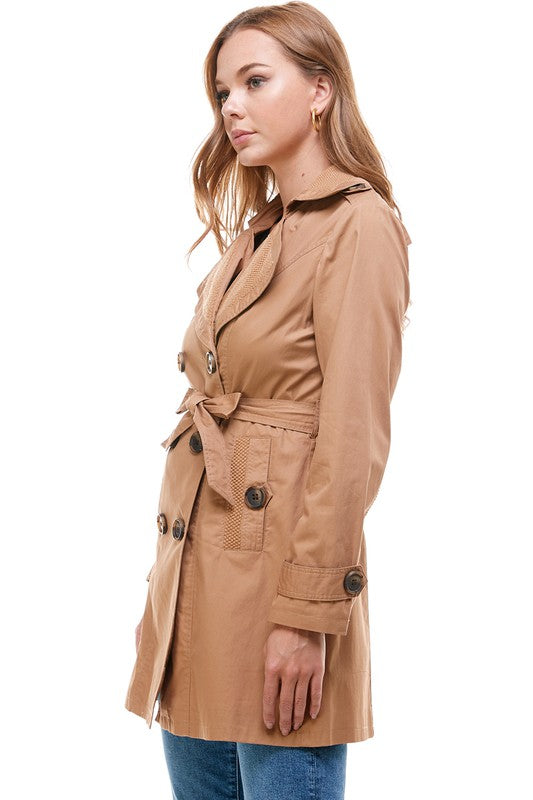 Women's New Khaki Belted Trench Coat