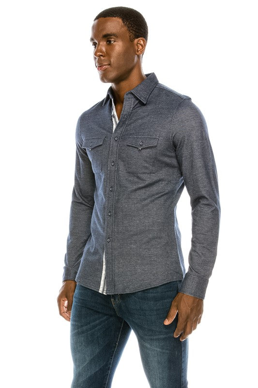 MEN'S Gray Printed Long Sleeve Button Up Shirt
