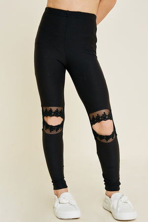 Kids Lace Cut-Out Brushed Legging