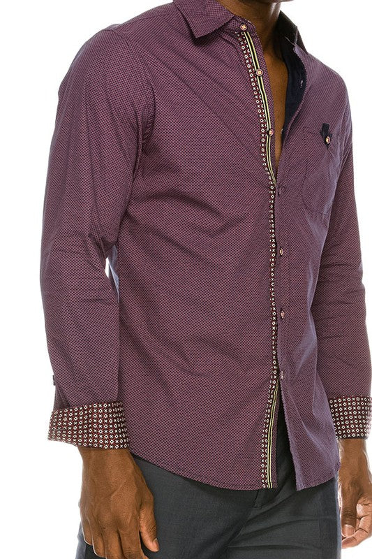 MEN'S Purple Print Long Sleeve Button Down Shirt