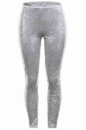 SEQUINED HIGH WAIST SKINNY HEM FULL LENGTH PANTS