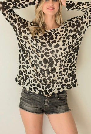 Leopard Knit Wide Neck Top