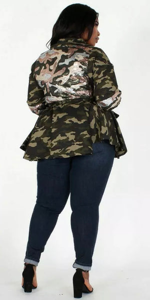 Women's All New Plus Size Camo Peplum Sequin Jacket