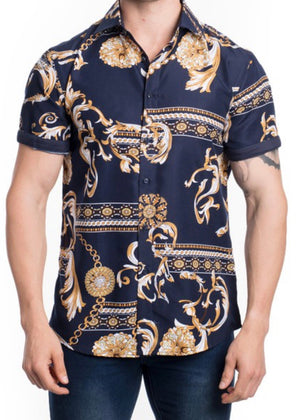 Men's Floral Printed Short Sleeve Shirt