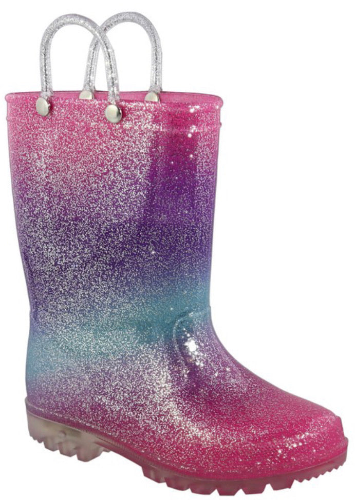 Girls Glitter Multi Colored Waterproof Rain Boots