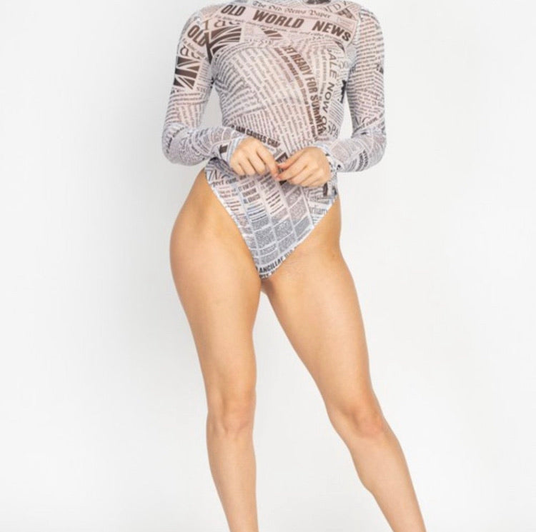 Newspaper Print Sheer Mesh Bodysuit