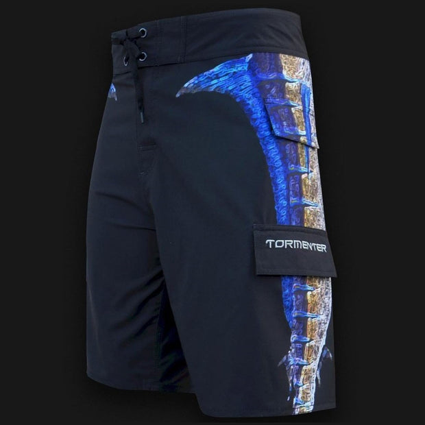"4x4 Board Shorts - ""Side To"" - Marlin Side To - Performance Fishing Board Shorts Tormentor Ocean"