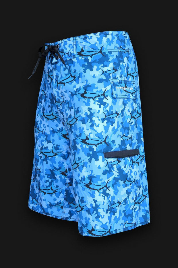 4x4  - 8 Way Stretch Board Shorts - Marlin Camo Blue - Tormenter Ocean Fishing Gear Apparel Boating SPF Surfing Watersports