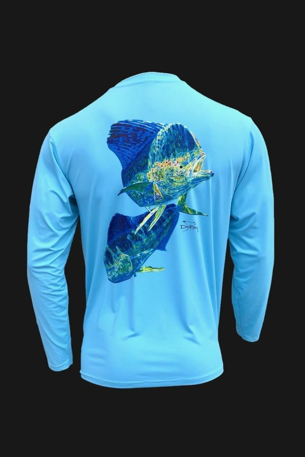 Key Largo Series - Electrified Mahi Long Sleeve Performance Shirt Men's SPF Ocean Fishing Tops Tormenter Ocean EM-Blue S