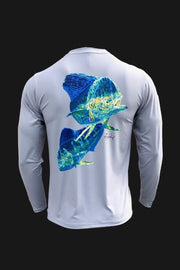 Key Largo Series - Electrified Mahi Long Sleeve Performance Shirt Men's SPF Ocean Fishing Tops Tormenter Ocean EM-Gray S