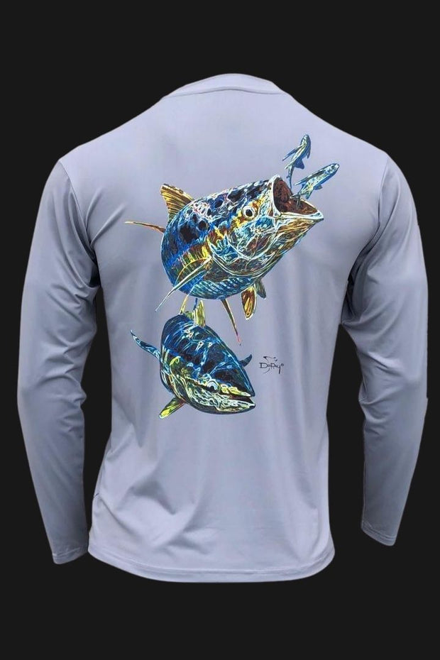 Key Largo Series - Electrified Tuna Long Sleeve Performance Shirt Men's SPF Ocean Fishing Tops Tormenter Ocean ET-Gray S