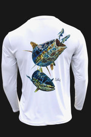 Key Largo Series - Electrified Tuna Long Sleeve Performance Shirt Men's SPF Ocean Fishing Tops Tormenter Ocean ET-White S