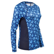 Women's Printed Performance Shirts - Angelfish Navy Ladies Printed SPF Tops Tormenter Ocean