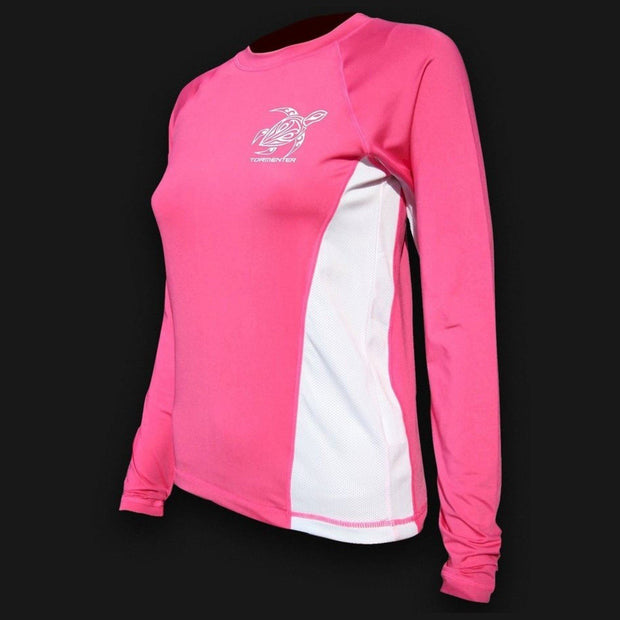 Ladies SPF-50 Performance Shirt - Pink Turtle FINAL CLEARANCE SALE Ladies' SPF Shirt Rash Guard Tormenter Ocean