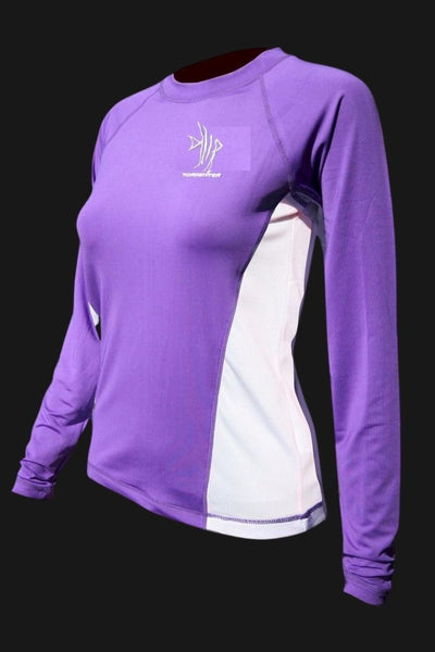 Ladies SPF-50 Performance Shirt - Violet Angelfish - FINAL CLEARANCE SALE Ladies' SPF Shirt Rash Guard Tormenter Ocean