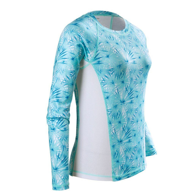 Women's Printed Performance Shirts - Palm Blossoms Ladies Printed SPF Tops Tormenter Ocean
