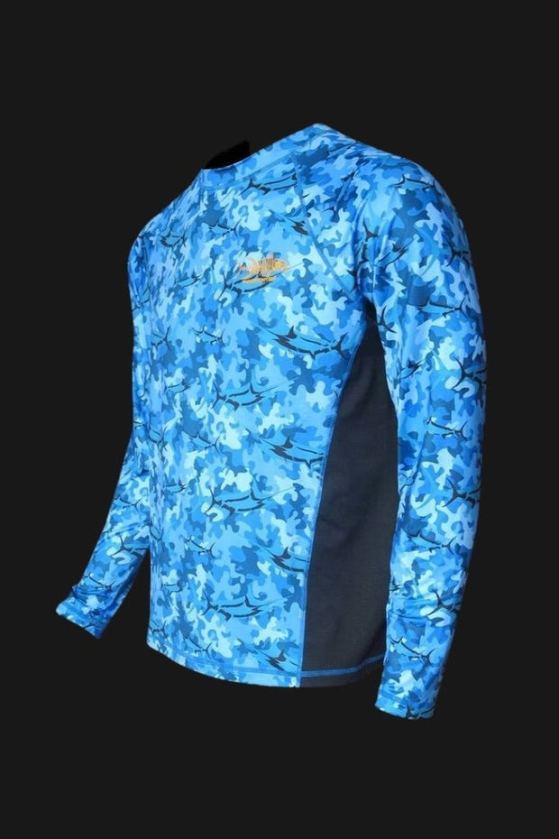 Marlin Blue Camo SPF Fishing Shirt Men's SPF Ocean Fishing Tops Tormentor Ocean