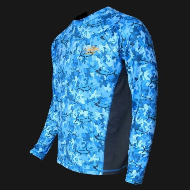 Marlin Blue Camo SPF Fishing Shirt - Sale Men's SPF Ocean Fishing Tops Tormentor Ocean
