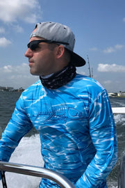 Key Largo Series Hydraflek Blue Longsleeve Performance Shirt Men's SPF Ocean Fishing Tops Tormenter Ocean