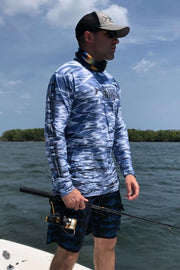 Key Largo Series Hydraflek Gray Long Sleeve Performance Shirt Men's SPF Ocean Fishing Tops Tormenter Ocean