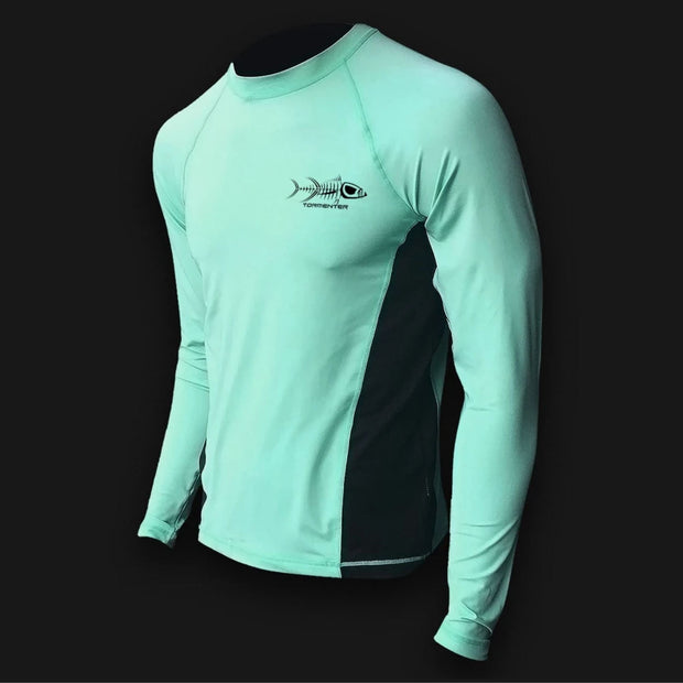 Raging Tuna Side Vented Performance Fishing Shirt - Seafoam Men's SPF Ocean Fishing Tops Tormenter Ocean Small