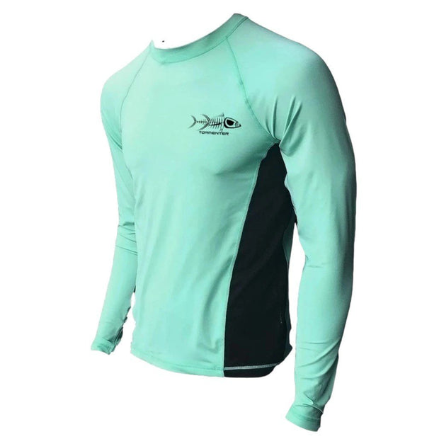 Raging Tuna Side Vented Performance Fishing Shirt - Seafoam Men's SPF Ocean Fishing Tops Tormenter Ocean