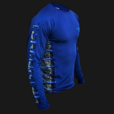 """Side To"" Vented Performance Shirt - Blue Marlin Men's SPF Ocean Fishing Tops Tormenter Ocean"