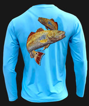 Men's Performance Shirt - Electric Fish – Redfish Men's SPF Ocean Fishing Tops Tormenter Ocean Blue S