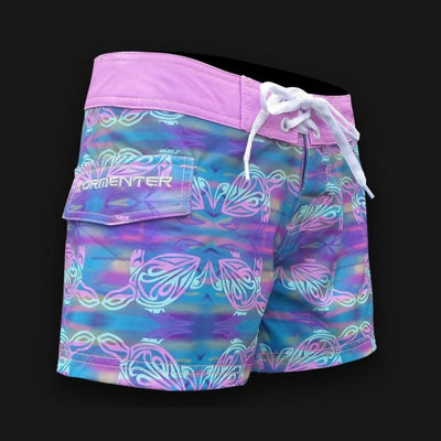 "Tormenter Women's 8 Way Stretch 3.5"" Board Shorts - Turtle Ladies Board Shorts Tormenter Ocean"
