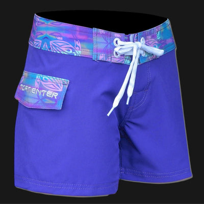 "Tormenter Women's 8 Way Stretch 3.5"" Board Shorts - Violet Turtle Ladies Board Shorts Tormentor Ocean"