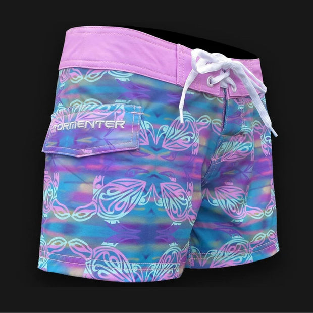 "Tormenter Women's 8 Way Stretch 6"" Board Shorts - Turtle Ladies Board Shorts Tormenter Ocean"