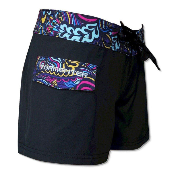 "Tormenter Women's 8 Way Stretch 3.5"" Board Shorts - Black Reef Ladies Board Shorts Tormenter Ocean"