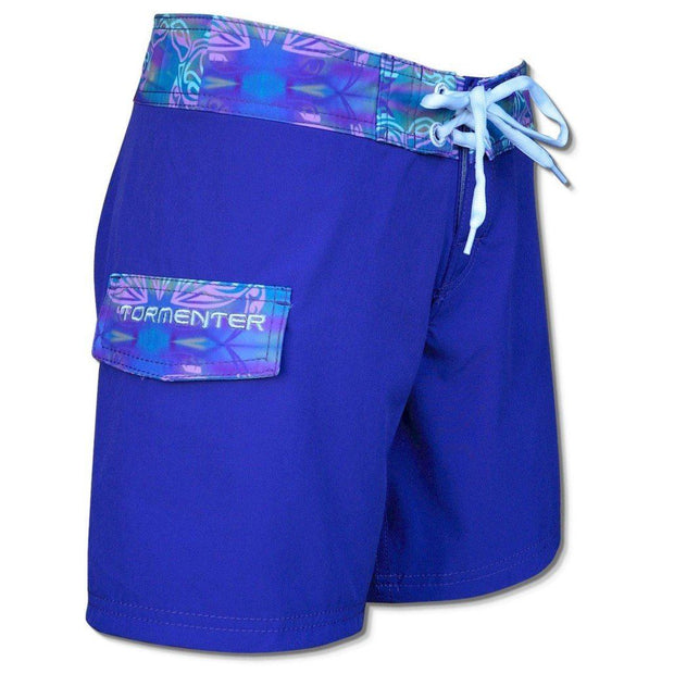 "Tormenter Women's 8 Way Stretch 6"" Board Shorts - Violet Turtle Ladies Board Shorts Tormenter Ocean"
