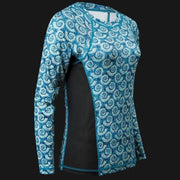 Women's Printed Performance Shirts - Nautilus Teal Ladies Printed SPF Tops Tormenter Ocean