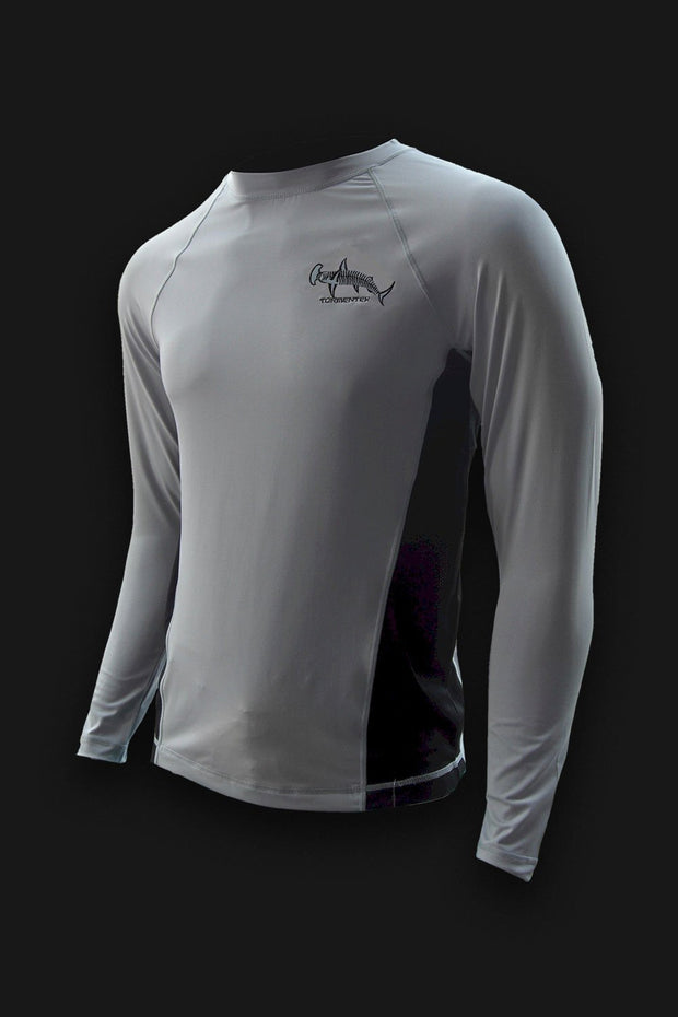 Hammerhead Grey Performance Fishing Shirt SPF 50 - Tormenter Ocean Fishing Gear Apparel Boating SPF Surfing Watersports