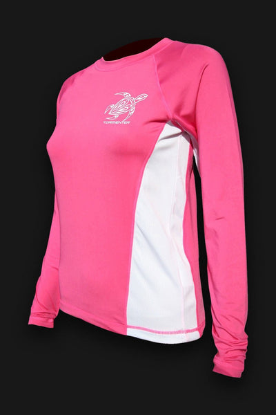 Ladies SPF-50 Performance Shirt - Pink Turtle   FINAL CLEARANCE SALE - Tormenter Ocean Fishing Gear Apparel Boating SPF Surfing Watersports