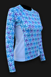 Ladies SPF-50 Rash Performance Shirt - Starfish - Tormenter Ocean Fishing Gear Apparel Boating SPF Surfing Watersports