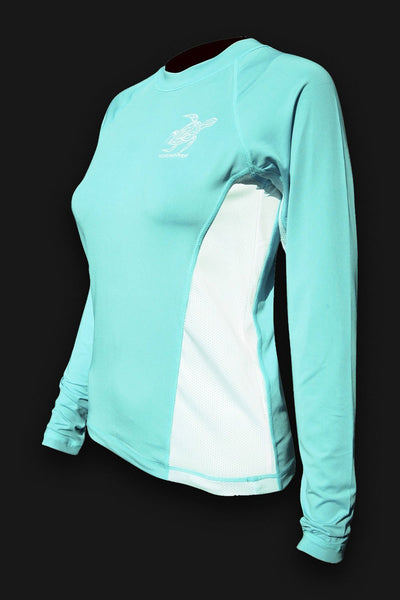 Ladies SPF 50 Rash Guard - Seafoam Turtle - Tormenter Ocean Fishing Gear Apparel Boating SPF Surfing Watersports