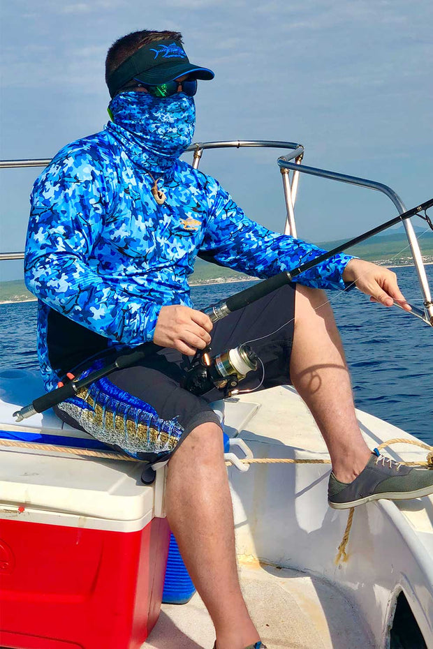 Marlin Blue Camo SPF Fishing Shirt - Tormenter Ocean Fishing Gear Apparel Boating SPF Surfing Watersports