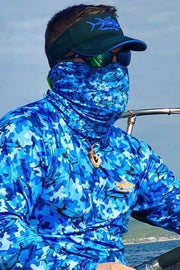 Marlin Camo Blue Neck Gaiter - Tormenter Ocean Fishing Gear Apparel Boating SPF Surfing Watersports