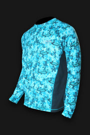 Marlin Camo Teal SPF Fishing Shirt - Tormenter Ocean Fishing Gear Apparel Boating SPF Surfing Watersports