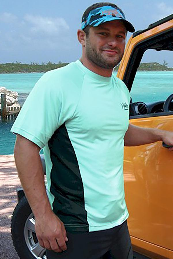 Men's Seafoam Short Sleeve Sports Shirt - Tormenter Ocean Fishing Gear Apparel Boating SPF Surfing Watersports