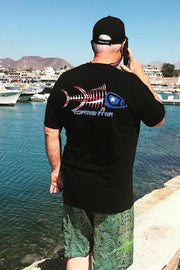 Patriot Black Men's Fishing T-Shirt - Tormenter Ocean Fishing Gear Apparel Boating SPF Surfing Watersports