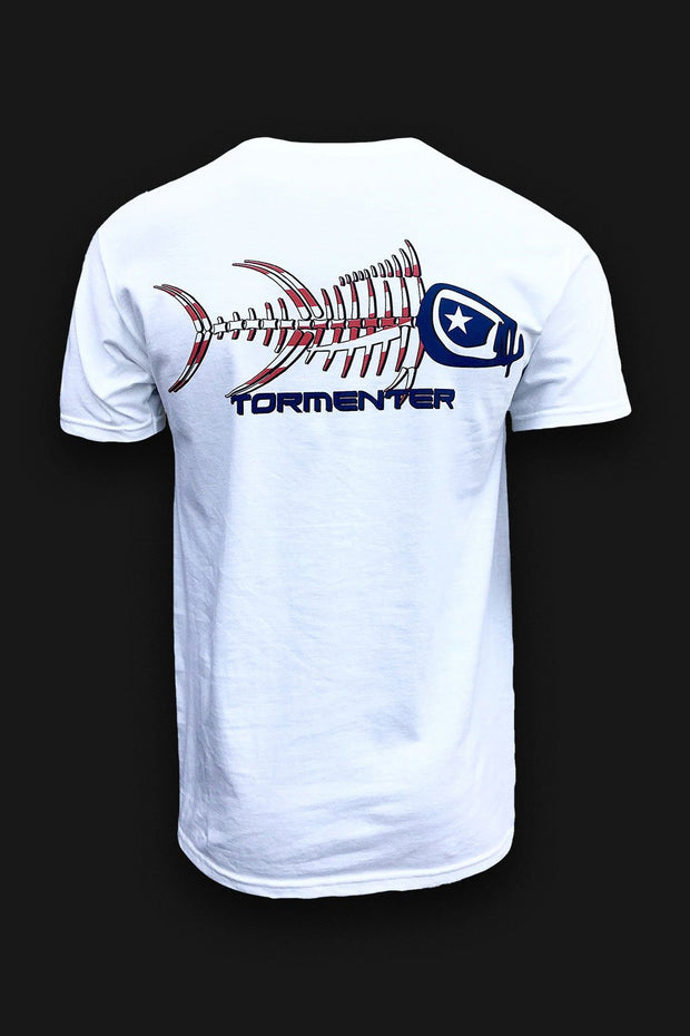 Patriot White Men's Fishing T-Shirt - Tormenter Ocean Fishing Gear Apparel Boating SPF Surfing Watersports
