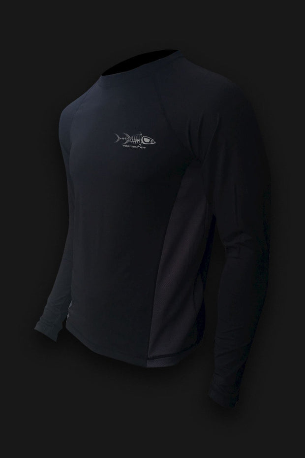 Raging Tuna Side Vented Performance Fishing Shirt - Black - Tormenter Ocean Fishing Gear Apparel Boating SPF Surfing Watersports