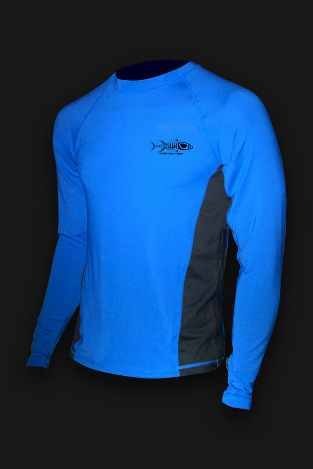 Raging Tuna Side Vented Performance Fishing Shirt - Royal Blue - Tormenter Ocean Fishing Gear Apparel Boating SPF Surfing Watersports