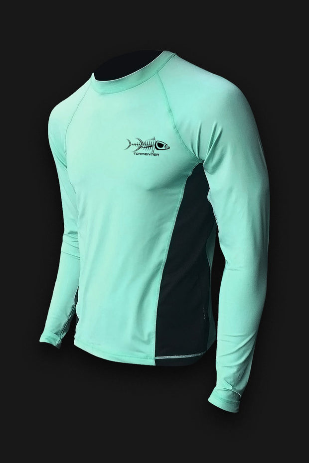 Raging Tuna Side Vented Performance Fishing Shirt - Seafoam - Tormenter Ocean Fishing Gear Apparel Boating SPF Surfing Watersports