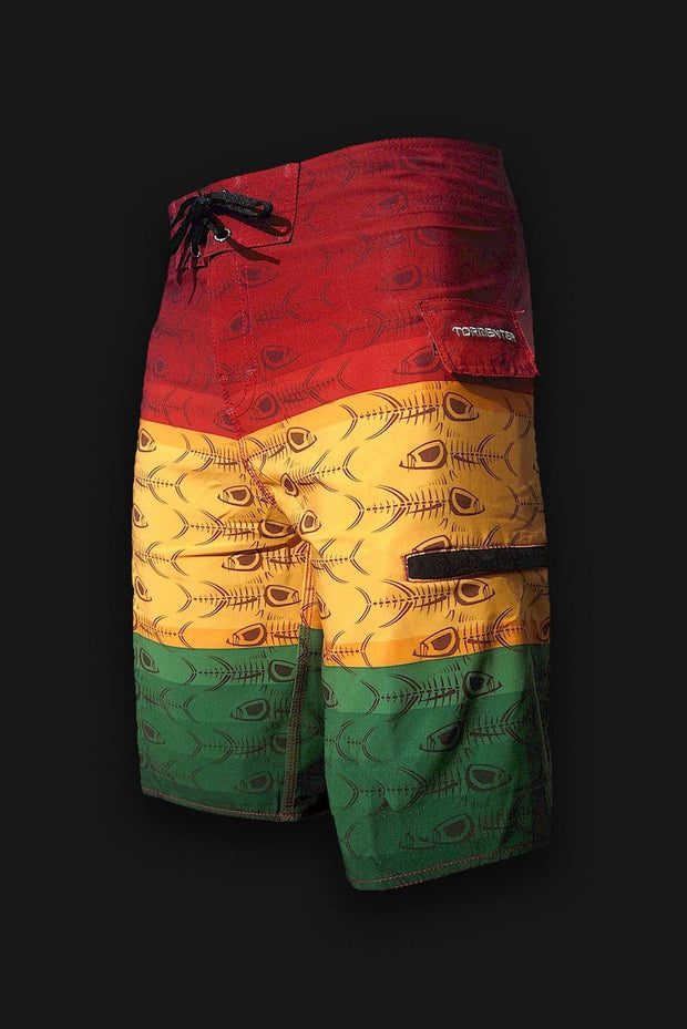 Reggae Rasta Fish Bones Board Shorts-Discontinued - Tormenter Ocean Fishing Gear Apparel Boating SPF Surfing Watersports